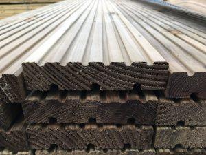 Pile of timber decking.