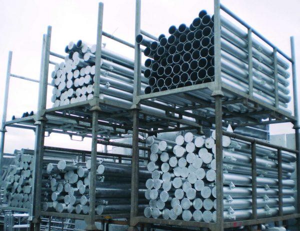 Racks of metal gate posts.